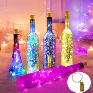 2X Wine Bottle Cork Shaped LED String Copper Wire Light For Xmas Party Decor hol