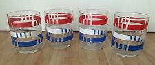 Vintage Set 4 Libbey Red White Blue Americana Retro Striped 6 oz Juice Glasses