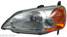New Replacement Headlight Assembly LH / FOR 2001-03 HONDA CIVIC 4-DOOR SEDAN