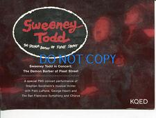 Sweeney Todd Stephen Sondheim Patti Lupone George Hearn Pbs Promotional Postcard