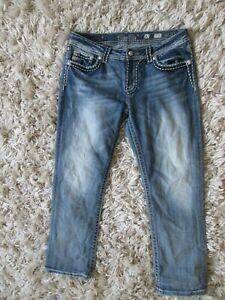 Miss Me 32 Mid Rise Capri Easy Flap Pocket Bling Stretch Denim Jeans