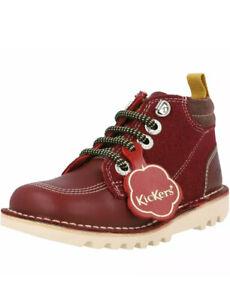 BNIB Kickers Boots Kick Hi Winterized Burgundy Leather Infant UK Size 11  EU 29