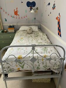 Beautiful Original Antique Cast Iron Victorian Single Bed Frame