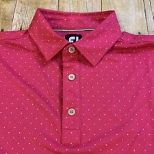 FootJoy Fj Men's Abstract Pink Polka Dot Polo Golf Shirt Medium
