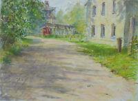 """Malerei.Original Kunstwerk""""Dorfweg"""" Gerry Miller.Ölpastell auf Papier.30x40cm"""