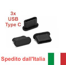 SVENDITA 3x Tappo antipolvere USB Type-C silicone nero x LENOVO ZUK Z1 Z2
