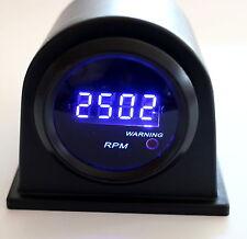 "2"" Digital Tach Blue LED Display Sm Lens 9999 RPM - Warning Light w/ Blk pod"
