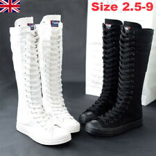 Women Girl PUNK Shoes Sneaker Zip Lace Up Canvas GOTHIC Boots Knee High Size UK