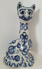 """M.A. Hadley 14.5"""" Hand Painted Stoneware White Blue Cat Vase"""
