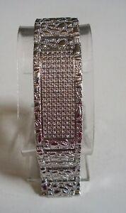Men's bling silver finish nugget ID style dressy hip hop fashion link bracelet