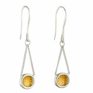 Silver Earrings Hammered Disc Earrings Yellow Gold Detail Fine Jewellery E5974