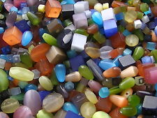 40g assortiment oeil de chat perles de verre cube goutte à facettes ovale (BOX127)
