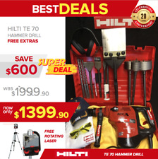 HILTI TE 70 HAMMER DRILL, PREOWNED, FREE ROTATING LASER, BITS, EXTRAS, FAST SHIP