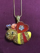 Betsey Johnson jewelry Bee Pendant Heart Wings  Free Golden Chain NEW W TAGS