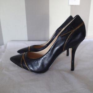 Enzo Angiolini sz 9 m Pop Culture Zip Detail Pump Shoes black leather o