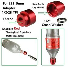 1/2x28 Tpi Cleaning Patch Trap Adapter Muzzle Soda Pop bottles For 223 & 9mm Red