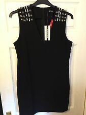 Fashion Union Ladies Black Dress with Crystal Style Detail Shoulders BNWT UK12