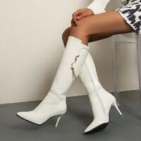 Damenschuhe Stilettoabsatz Spitz Reißverschluss Lackleder Stiefeletten Nachtclub