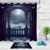 Gothic Style Vintage Balcony Moon Scene Fabric Shower Curtain Set Bathroom Decor