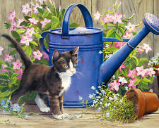 Art Print Kitten is next to the watering pot painting printed on canvas L1287