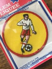 "New Vtg 3"" Soccer Embroidered Patch NOS Football Footy Made In USA Yellow"
