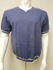 Icebox Men Large Blue White Short Sleeve Pullover V Neck Cotton Blend