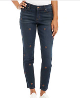 Women's Crown And Ivy Retro Embroidered Skinny Jean's Rinse Wash NWT