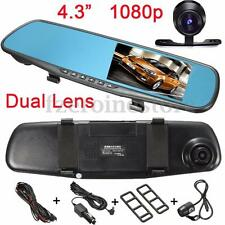 "New 4.3"" 1080P HD Car Rear View Mirror DVR Recorder Dual-len Dash Camera Monitor"
