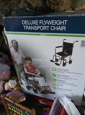 """19"""" Drive Deluxe Fly Weight Transport Chair Green Frame/Burgundy Upolstery"""