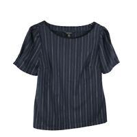 Banana Republic Womens Emmie Top Size M Blue Pinstripe Puff Short Sleeve Blouse