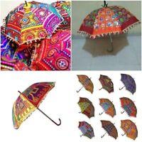 Wholesale Lot Decorative Indian Embroidered Parasol Vintage Sun Shade Umbrella