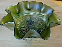 Northwood Rosette Footed Carnival  Glass Bowl Green Ruffle Rings