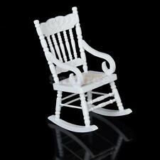 White Wood Rocking Chair for 1:12 Doll House Miniature Living Room Accessory