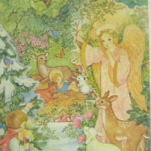 Current Christmas Card Greeting Advent Calendar Windows Vintage 1984 Stand up