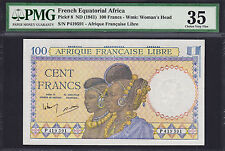 French Equatorial Africa 100 Francs ND (1941) Pick-8 Very Fine PMG 35