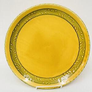 "HTF Crate & Barrel Mustard Yellow Sage Green Ceramic Dinner Buffet Plate 11 6/8"""