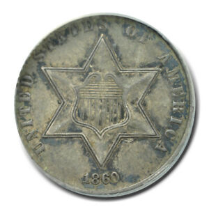 1860 3CS Three Cent Silver ANACS AU55