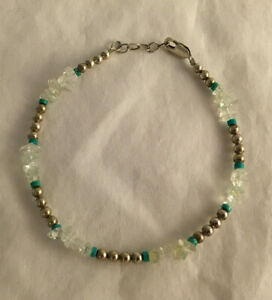 """Sterling Silver 925 Beads Clear Quartz 9"""" Womens Lobster Clasp Bracelet"""