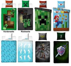 Game Jungen Bettwäsche Set Kinder 135x200 80x80 Minecraft Fortnite Zelda Mario