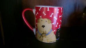 Dogs Mug Coffee Tea Cup Gibson Everyday Debi Hron Canine Pet Bones Red