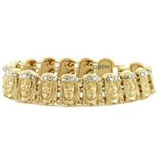 ICED OUT JESUS FACE GOLD PLATED MICRO PAVE CLEAR CUBIC 8.5 BRACELET KB016G
