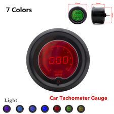"7 Color 2"" 52mm Car Tacho Tachometer Gauge Digital RPM LED Light Meter Universal"