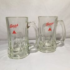 Bass Beer  Glasses Set Brew Ale Drinking Cups LOT of 2 Clear Mugs