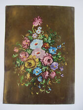 Vintage Original Art Small Floral Oil Painting on COPPER Signed Mary 7x5