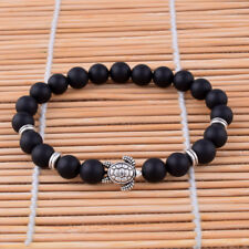8mm Natural Black Matte Agate/Onyx Bracelet Tibetan silver Turtle Beaded Bangle