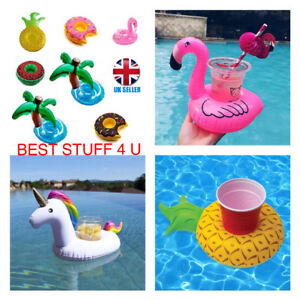 Inflatable Floating Drink Can Cup Holder Swimming Pool Flamingo Unicorn Fun l~ x
