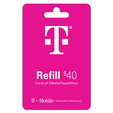 T-Mobile $40 Prepaid Refill Card - Air Time Top-Up RECHARGE Funds Direct Reload