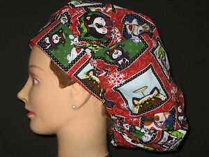 Surgical Scrub Hats/Caps Christmas   Cute Dogs in Square Frames