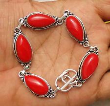 "Coral Gemstone Bracelet 925 Silver Overlay Size 8.5"" U183-A24"