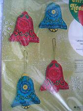Christmas Bucilla Felt Applique Ornament Kit,HOLIDAY BELLS,Sequins,Beads,1642